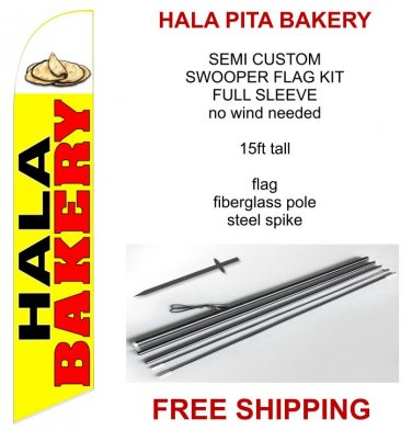 Hala Pita Bakery flag kit full sleeve swooper flag banner 15ft tall red yellow black