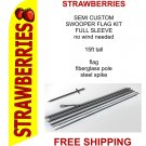 Strawberries flag kit full sleeve swooper flag banner 15ft tall red yellow black