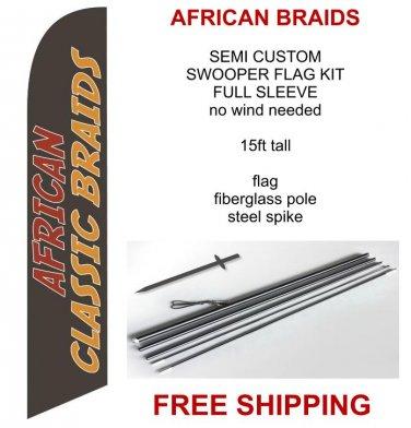 African classic braids flag kit full sleeve swooper flag banner 15ft tall red yellow black
