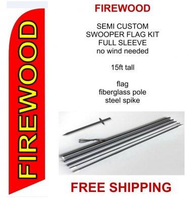 Firewood flag kit full sleeve swooper flag banner 15ft tall red yellow black