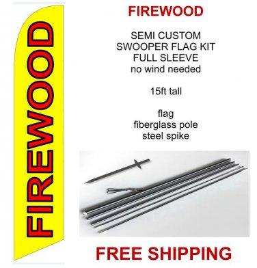 Firewood flag kit full sleeve swooper flag banner 15ft tall yellow red black