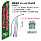 FRESH PRODUCE tall swooper flag banner