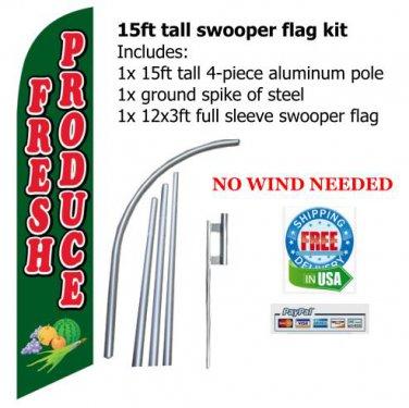 FRESH PRODUCE tall swooper flag banner