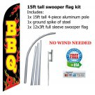 BBQ Swooper flag pole spike banner 15ft tall -