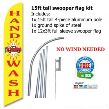 HAND WASH FEATHER FLAG BANNER -