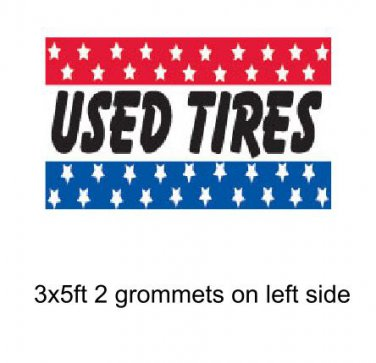 3x5 ft Banner Advertising Business Sign Flag - USED TIRES