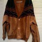 Vintage genuine western leather jacket blanket pattern