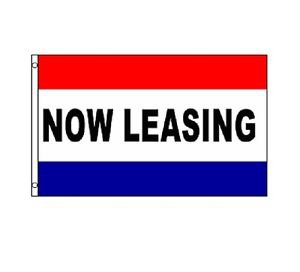 NOW LEASING Sign Flag 3x5ft advertising  banner sign blue red