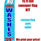 UNLIMITED CAR WASH blue SWOOPER FLAG KIT  -