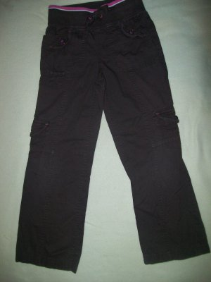 *Justice Brown Cargo pants with stretch waist band + tie sz7 *7 pockets*