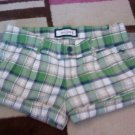 ABERCROMBIE SHORT SHORTS GIRLS 14 STRETCH PLAID BLUE GREEN TAN