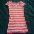 JUNIORS XS HOLLISTER PINK WHITE STRIPES SCOOP NECK TEE SHIRT