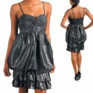 BLACK SPAGHETTI STRAP BUBBLE DRESS   Medium