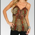 Brown Tie Back Sheer Tank Top Shirt Size S M L XL