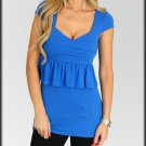 Tiered Ruffled Cross Front Blue Top Shirt Size S M L
