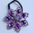Purple Snowflake Ponytail Holder / Brooch Crystal