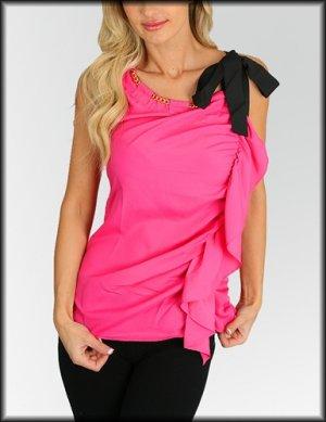 Fuchsia Bow Tie Shoulder Top Shirt Size S M L