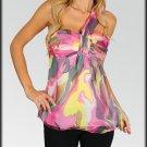 Pink Swirl Dye Single Strap Top Shirt Size S M L