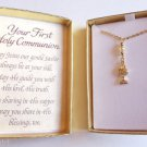 Your First Holy Communion Necklace Bible Gift Box pearl
