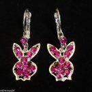 Playboy Bunny Earrings fuchsia pink crystal stones