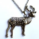 Gold Deer Necklace crystal stones Hunter Christmas reindeer