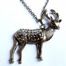 Gold Deer Necklace crystal stones Hunter Christmas reindeer