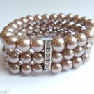Brown Glass Pearl Bracelet crystal cuff