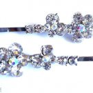 Clear Crystal flower with Butterfly Bobby Pins set of 2