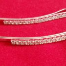 Clear Crystal Barrette Bobby Pins set of 2 silver