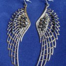 "Large Antique Silver Angel Wings Earrings 4"" with Black rhinestones"