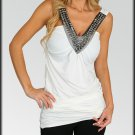 Mirror Gems White Tunic Tank Top shirt Size S M L