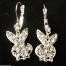 Playboy Bunny Earrings clear crystal stones
