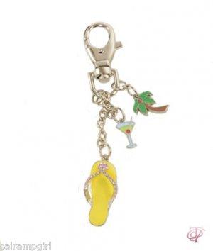 Flip Flop Keychain Charms Palm Tree Martini Glass