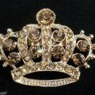 Princess Crown Pin Brooch Gold Topaz crystal Rhinestones Queen