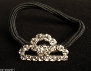 Clear Crystal Princess Crown Ponytail Holder