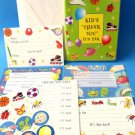 Kids Thank you Cards Fun Pack  12 notecards stickers