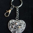 Silver Heart Keychain Clear Shimmering crystal rhinestones