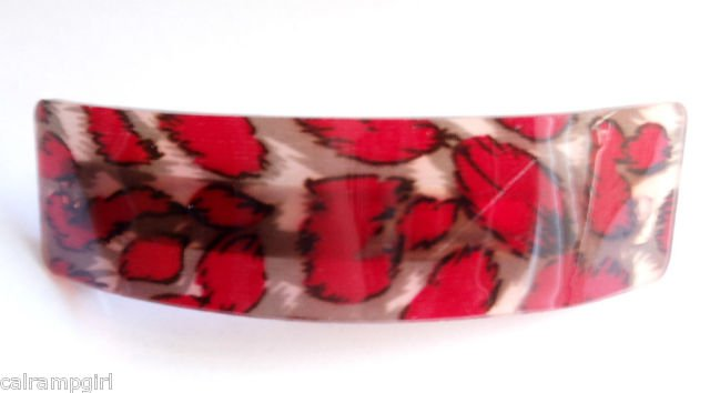 Red Animal Print Transparent Hair clip Barrette