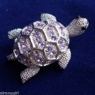 Turtle Pin Brooch silver Purple crystal rhinestones