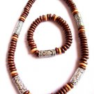 Surfer Style Beaded Necklace bracelet set brown wood