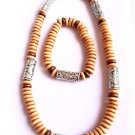 Surfer Style Beaded Necklace bracelet set tan wood