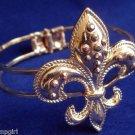 Gold Fleur De Lis Bracelet Cuff Mardi Gras rhinestone