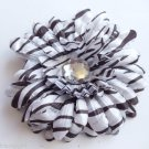 Large Black White Striped Flower hair clip