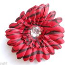 Large Red Black striped Flower hair clip