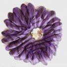 Large Purple Black striped Flower hair clip