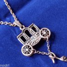 Brass Fairytale Necklace Cinderella Carriage shoe Princess