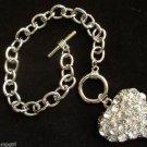 Heart Charm Bracelet Silver chain link crystal rhinestones
