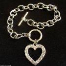 Open Heart Charm Bracelet Silver chain link crystal rhinestones
