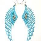 "Large Blue Angel Wings Earrings 4"" with clear crystal rhinestones"