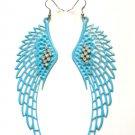 "Large Blue Angel Wings Earrings 4"" with clear crystal rhinestones"